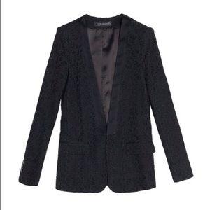 Zara Black Lace Tuxedo Jacket